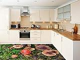 Ruvitex 3D Küche Boden Vinyl Dekor PVC Bodenbelag Teppich Aufkleber Fliesen Wand Kunst Bild Leben Lebendige Blumen 200cm x 300cm x 1.5mm