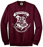 TheProudLondon Hogwarts Logo Unisex Sweatshirt - Harry Potter Hogwarts School of Witchcraft and Wizardry (Large, Burgundy)