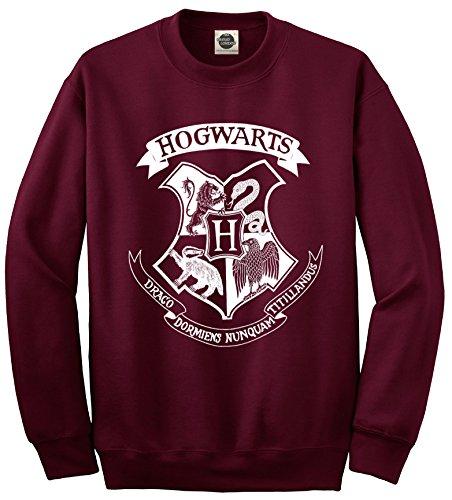 Hogwarts Logo Unisex Sweatshirt - Harry Potter Hogwarts School of Witchcraft and Wizardry (Small, Burgundy) (Hogwarts Pullover)