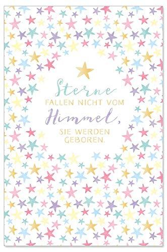 ARTEBENE Grußkarte Geburtstagskarte Glückwunschkarte Präge Baby Sternenhimmel