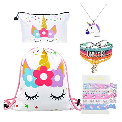 DRESHOW Unicorn Gifts for Girls Mochila cordón/Maquillaje/Colgante