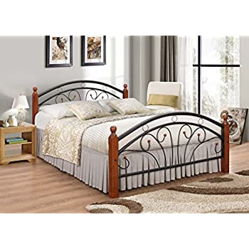 Metal Bed frame with Oak Legs Double bed 7 Star Furniture Dirty
