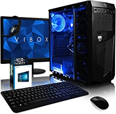 Vibox VBX-PC-5246-II Precision Paket 6SW 54,6 cm (21,5 Zoll) Gaming Desktop-PC (AMD Phenom Quad Core FX-4300, 16GB RAM, 1TB HDD, NVIDIA Geforce GT 730, Win 10 Home) blau