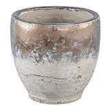 PTMD Übertopf Blumentopf Thriff Gold Glazed in Beton-Optik rund Large aus Keramik - Maße: 18.0 x 18.0 x 18.0 cm