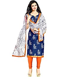 Radhey ArtsNew Designer Blue And Orange Printed Cotton Dress Material With Matching Dupatta