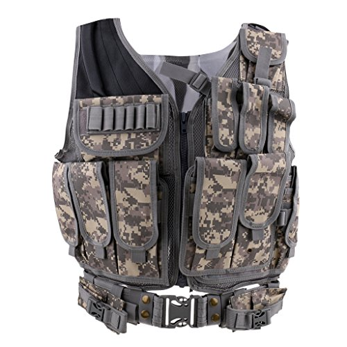 Baoblaze Outdoor Taktisch Weste Jagdfür Camping Wandern mit Vielen Taschen Verstellbare T