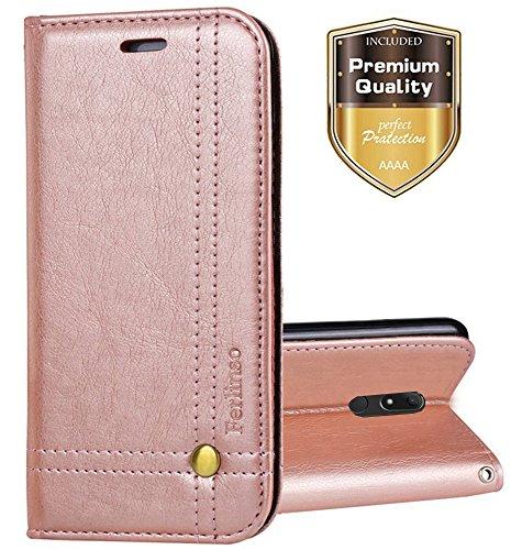 Ferlinso Wiko View XL Hülle, Elegantes Retro Leder mit Identifikation Kreditkarte Schlitz Halter Schlag Abdeckungs Standplatz magnetischer Verschluss Kasten für Wiko View XL (Rose Gold)