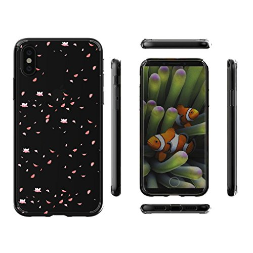 Custodia per Apple iPhone X (5,8 pouces) ,JIENI Cover Arte piuma Trasparente TPU Flessibile Sottile Protezione Bumper Case per Apple iPhone X (5,8 pouces) WM97
