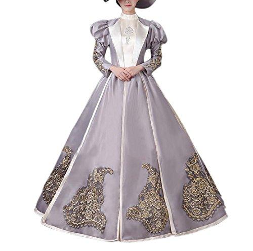 Frauen Berühmte Halloween Kostüme (Damen Satin Viktorianisches Kleid 18th Century Renaissance Maxi Kostüm Halloween (42,)