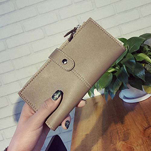 Fyyzg Sommer Neue Damen Brieftasche Mode Geldbörse Schnalle zweifache Brieftasche Multi-Karten-Position Soft - Khaki