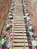 QBZN Der Blumenweg, die feste Matte, der gewundene Korridor, die Treppe, der Gang, die lange Antibelegdecke, das gewaschene Wasser und die Wildledernatur., Breite 60cm * lang 100cm, zitronengelbe Blumenstraßen-Bambusplattenbrücke