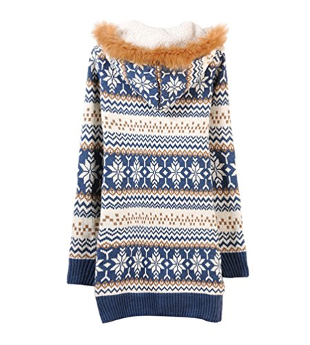 CHENGYANG Femme Hiver Manches Longues Pulls Cardigan à Capuche Tricots Manteaux Chandail Bleu