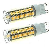 eledison ((2unidades) G9LED bombillas 5W 75SMD 2835LED ahorro de energía bombillas con cubierta transparente equivalente a 50W Bombilla halógena, CA 220–240V, 360° ángulo de haz, Warm White 2700K, g9, 5.0 wattsW