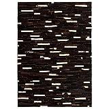Festnight- Matten Teppich Echtes Leder Patchwork 80 x 150 cm Schwarz Weiß