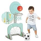 QINAIDI Kinder Zwei in Einem Basketball-Fußball-Tor,Kindergarten Indoor-Outdoor-Spielzeug,Einstellbare Fußball-Rahmen Basketball-Box