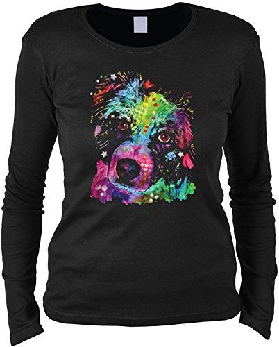 Pop Art ::: Aussie ::: Longshirt für Hundefreundinnen Schwarz