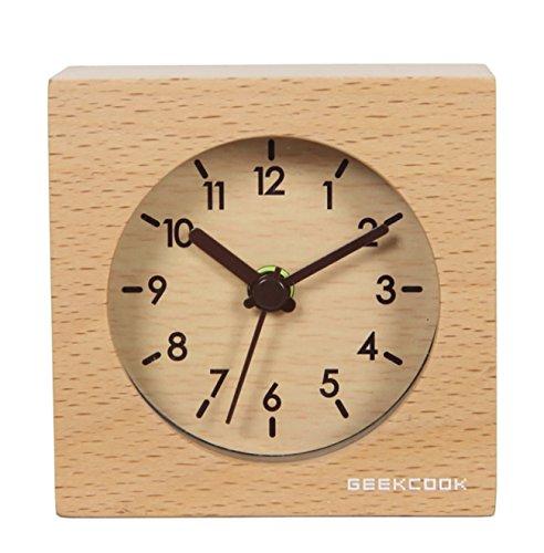 Kreativer kleiner quadratischer hölzerner Wecker einfacher pastoraler Art-Schreibtisch-Taktgeber-Digital-stiller Schlaf-Uhr-ideale Geschenk-Buche-hölzerne Farbe oder Walnuss-Farbe ( Color : Wood Color )