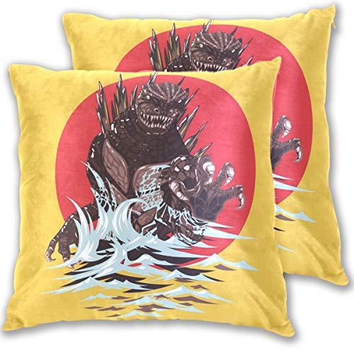 Jereee Gelbe Godzilla Dinosaurier-Kissenbezüge, dekorativ, 40,6 x 40,6 cm, doppelseitiger Druck, Schutz-Set für Dekoration, Kissen, Auto, Reise, Flugzeug (2 Stück), Multi, 50,80 cm X 50,80 cm