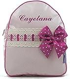 Mochila o bolsa infantil lencera personalizada con nombre en plastificado rosa y pasacintas beige