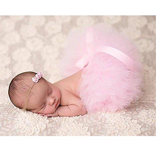Monate Kostüme Girl 3 Baby (Fotografie Prop für Baby Girl 0–3 Monate Tutu Rock Kopfschmuck Neugeborene Rosa Outfits)