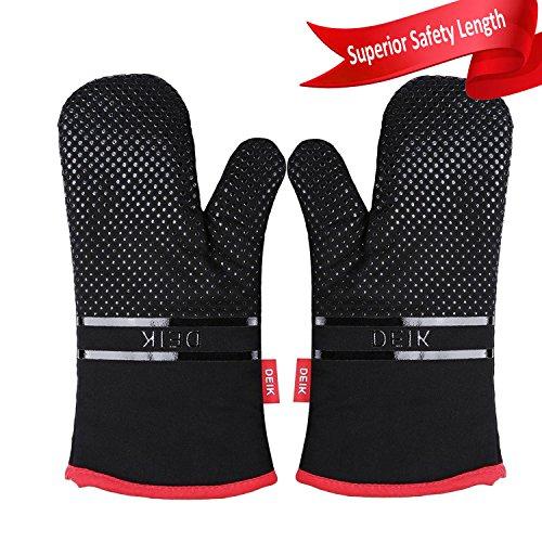 Deik Ofenhandschuh, Ofenhandschuhe, hitzebeständige topflappen handschuh bis zu 464˚F, Silikon Anti-Rutsch Design, geeignet für Kochen, Backen, Grillen, Schwarz, Topfhandschuhe
