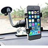 Ceuta Retails , Universal Soft Tube Car Mobile Holder With Suction Cup | Clamp Car Mount | 6 Inches Long Arm | 360 Degree | Flexible Mount Stand | Windshield / Dashboard Cell Phone Holder With Strong Suction Cup - Black .