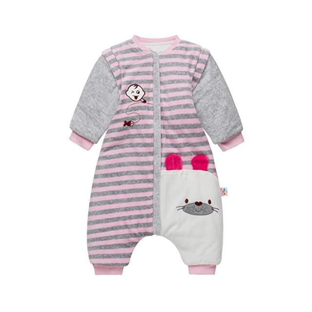 1abe177c66418 Enfant Sac de Couchage d'hiver Gigoteuse en Coton Pyjama à Manches Amovible  3.5 Tog ...