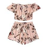VJGOAL Women Girls Two Piece Set Summer Off Shoulder Beachwear Backless Crop Tops and Shorts Set