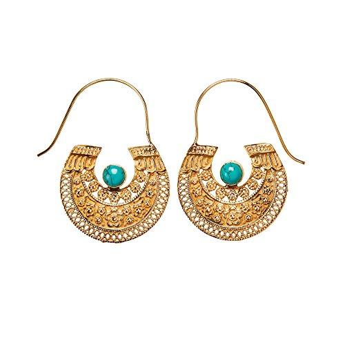 81stgeneration Frauen Gold Messing Stammes Boho Aztekisch Ägyptisch Edelstein Simulierter Ohrringe