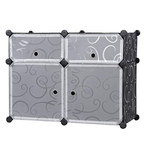 Songmics Aufbewahrung Kleiderschrank Schuhregal Badregale Kommode Sideboard Aufbewahrungsbox Schwarz Dekor 74 x 54 x 37 cm LPC114