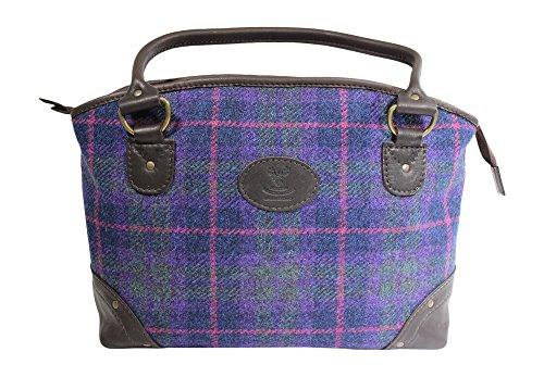 Wild Scottish Hirschleder Designer Leder lila Tartan Check Harris Tweed groß Sophie Tasche -