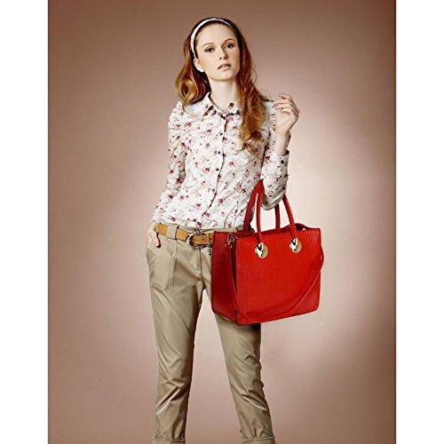 LeahWard® Damen Große Größe Patent nett Tragetaschen Groß Mode Essener Schulter HandTaschen Schule A4 394 Tragetasche-Red