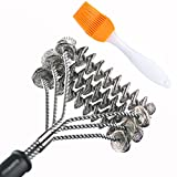 GAINWELL Spazzola sicura di metallo a spirale per Pulizia Griglia Barbecue - 3 spazzole in 1