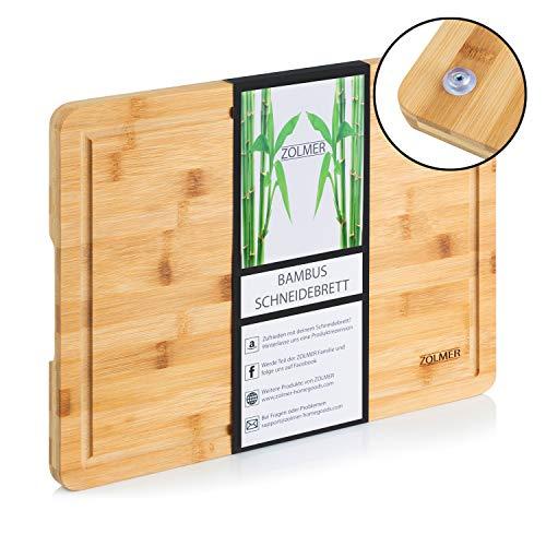 Zolmer Bambus Schneidebrett mit Saftrille 40 x 30 x 2 cm I Bamboo Holzbrett rutschfest I Küchen Holz Schneidbrett groß I Cutting Board antibakteriell