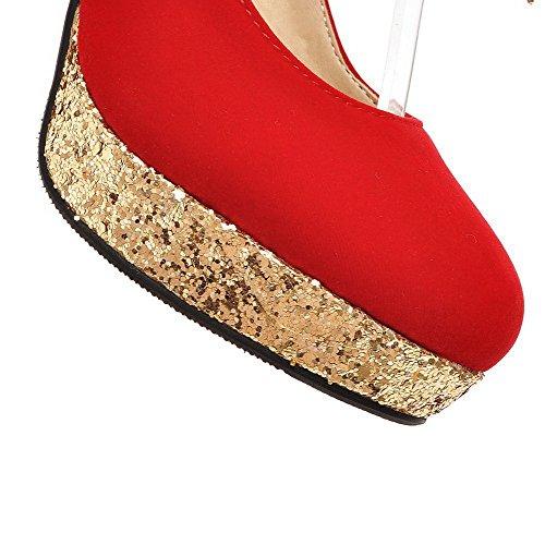 VogueZone009 Damen Rund Zehe Hoher Absatz Mattglasbirne Rein Schnalle Pumps Schuhe Rot