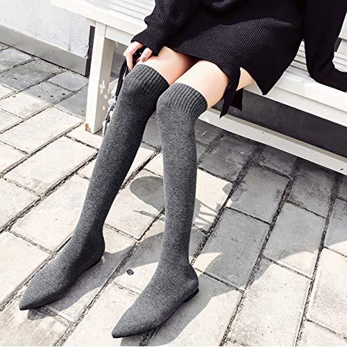 TianWlio Boots Stiefel Schuhe Stiefeletten Frauen Herbst Winter Mode Spitze Zehe Flache Schuhe über Dem Knie Warm Stiefeln Weihnachten Grau 38