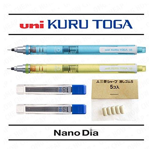 (Uni Ball Kuru Toga Druckbleistift 0,5mm–selbstschärfenden Druckbleistift–Blau und Grün Barrel–2Stück + 24GRATIS führt und 5Gratis Radierer)