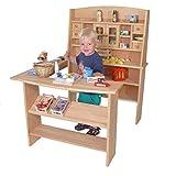 Kinder-Kaufmannsladen 3015 - Marktstand Großer Massivholz-Kaufladen mit Theke