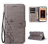 SMTR Huawei Y6 2017 Wallet Tasche Hülle - Retro Blumen Muster Design - [Ultra Slim][Card Slot][Handyhülle] Flip Wallet Case Etui für Huawei Y6 2017,(grau)