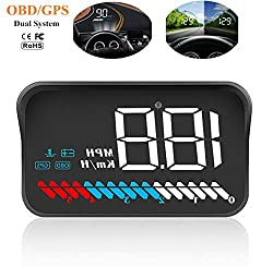 Universal HUD Head Up Display OBD II/GPS Interface, Fahrzeuggeschwindigkeit MPH KM/h, Motordrehzahl, Overspeed Warnung, Kilometermessung, Wassertemperatur, Spannung