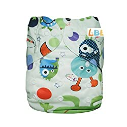 LBB(TM) Baby Resuable Washable Pocket Cloth Diaper, Cute Monster
