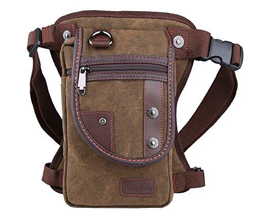 Genda 2Archer Moda Tactical Leg Bag Canvas sport esterno del pacchetto Leg (Blu) (cafe) (Nero) (cafe)