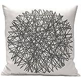 Grauer Kreis Kissen. Geometrische Muster Kissen. Baumwoll- linen kissenbezug 40 x 40 cm. BeccaTextile.