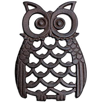 Cast Iron Owl Wall Art Ornament For Garden Or Home In Antique Finish