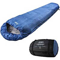 Andes Blue 4 Season XL Mummy Sleeping Bag, Warm 400GSM Filling - Compression Carry Bag Included, Ideal For Camping, Hiking, Backpacking, DoE Awards, Festivals Waterproof