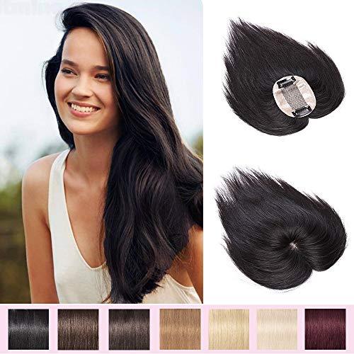 Extension a Clip Cheveux Naturel Volumateur Femme Complément Capillaire Topper Postiche Perruque Femme - 100% Cheveux Humain (#1B Noir Naturel, 16 Pouces/40cm)