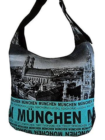 Robin Ruth Canvas Umhängetasche MÜNCHEN Foto in schwarz/neon blau (Maße: LxHxT 38x35x12 cm)