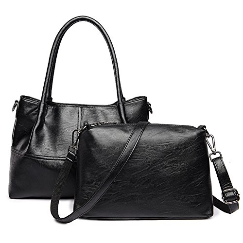 Mme. Shoulder Bag,Sacs à Bandoulière Sauvages Loisirs Sac à Main Costume Deux Pièces Pour Femme Black