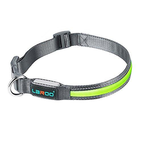 Leuchtendes Halsbänder, LaRoo™ Blinkender LED Hunde Sicherheits Halsband Hundehalsband Nylon Leuchtender Nacht Hundeband mit USB Wiederaufladbarem Leuchtendes Hellem Sicherheits Halsband für Hunde, Haustier - L 2.5*45-63cm (Metall-Haken) (Led-hundehalsband Aufladbare Usb)