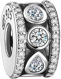 Soufeel Damen-Beads Weiß Kristall Reif Stopper 925er Sterling Silber Charm
